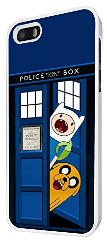 248 - Doctor who Tardis Call Box adventure Funny Design iphone 5 5S Coque Fashion Trend Case Coque Protection Cover plastique et métal - Blanc