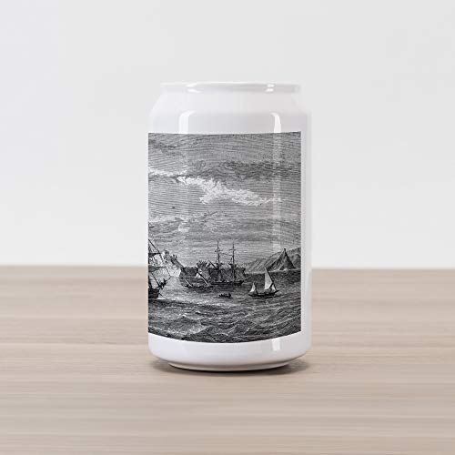 Ambesonne Antique Cola Can Shape Piggy Bank, Departing from Elba Vintage Engraved Illustration History of France Sails Vessels, Ceramic Cola Shaped Coin Box Money Bank for Cash Saving, Black Grey