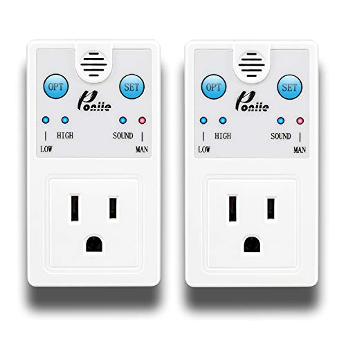 Poniie PN360 Plug-in Wireless Remote Sound Activated On/Off Outlet Light Switch, Clapper Detection, Perfect for Kitchen, Bedroom, Lights & Appliances, 10A Wall Plug (2Pack) -