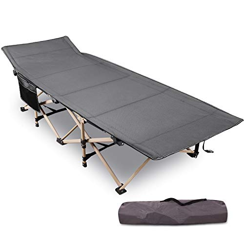 "REDCAMP Folding Camping Cots for Adults Heavy Duty, 28"" Extra Wide Sturdy Portable Sleeping Cot for Camp Travel Office Use, Grey Thicker Tubes"
