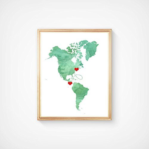 Amazon.com: North and South America Map Art Print - Watercolor ...