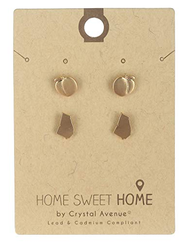 - Gold 2 pair stud state of georgia earring Fashion Jewelry FancyCharm