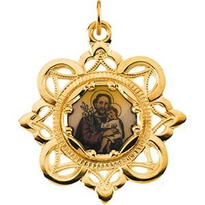 10kt Yellow 25.75x25.75mm St. Joseph Framed Enamel Pendant