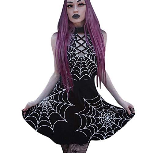 Kstare Punk Black Retro Spider Web Printed Sleeveless Halter Backless Mini Dress Gothic Dresses for Women