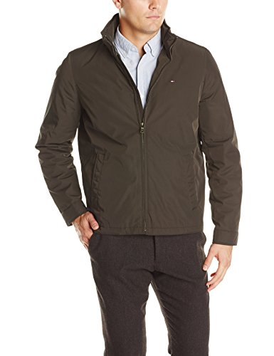 Tommy Hilfiger Men's Poly Twill Stand Collar Zip Front Jacket, Army Green, Large