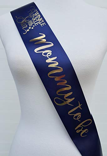 Twinkle Little Star Baby Shower Sash for Mom to Be Navy & Gold with Rhinestone Pin Banner