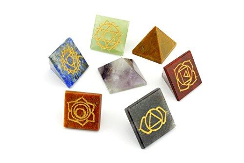 Engraved Chakra Pyramid Set with Velvet Pouches