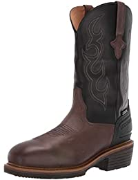 "Men's Welted Western 12"" Work Boot: Steel Toe & Waterproof-Medium Square Toe Construction"