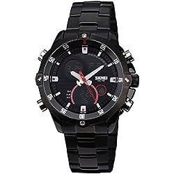 Zeiger New Men Outdoor Stainless Steel Digital Analog Watch, Military Field Casual Pilot Dress Style Wrist Watch for Boy Friend ( Black)