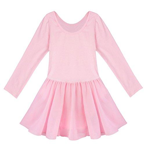 iiniim Girls Team Basic Long Sleeve//Sleeveless Leotard Tied Skirt Kid Dance Ballet Gymnastics Tutu Dress