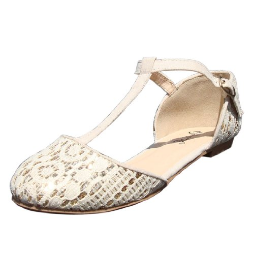 Qupid Womens Palmer99 Glitter Lace T-strap Ronde Neus Ballet Plat Ivoor