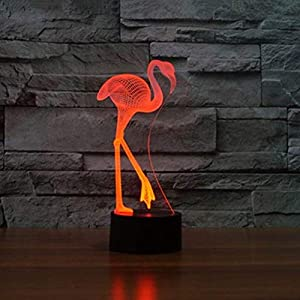 Optical Illusion 3D Flamingos Night Light 7 Colors Changing USB Power Touch Switch Decor Lamp LED Table Desk Lamp Brithday Children Kids Christmas Xmas Gift