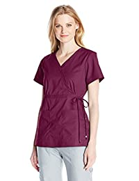 Koi Women's Katelyn Easy-Fit Mock-Wrap Scrub Top with Adjustable Side Tie - Black