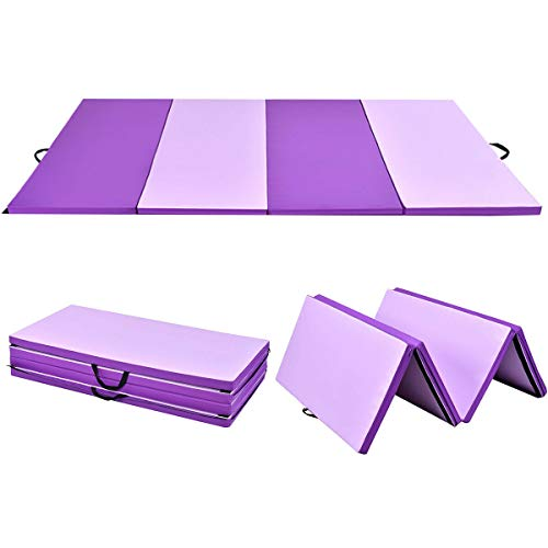 Stark Item 4'x8'x2 Gymnastics Mat Thick Folding Panel Gym Fitness Exercise Mat Purple/Pink