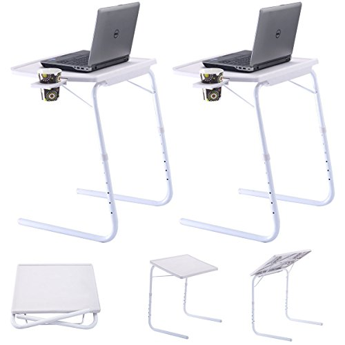 Beadboard Desk (2 x White Table Adjustable PC TV Laptop Desk Tray Home Office s/ Cup Holder)