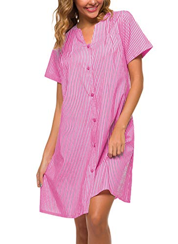 YOZLY Sleepwear Womens Duster Robe Button Down House Dress Short Sleeve Cotton House Coat Nightgown S-XXL (Purple, Medium)