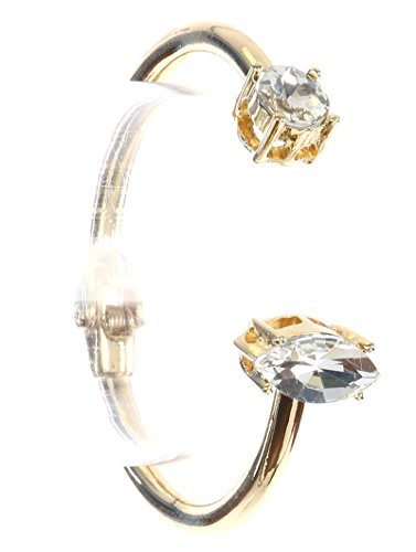 - Classy Gold Silver Clear Crystal Hinge Cuff Bracelet (Gold)
