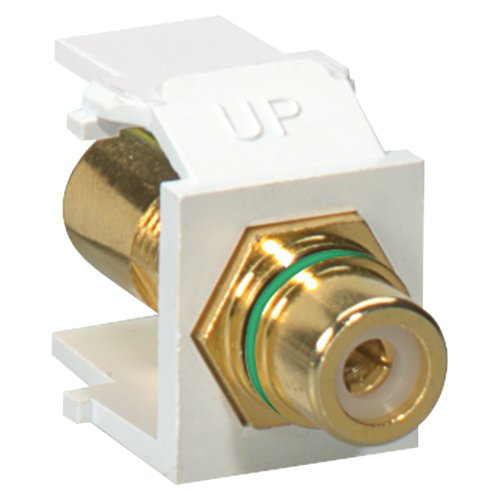 - LEV40830BWV - LEVITON 40830-BWV Gold Plated RCA QuickPort Jack (White; Green Stripe)
