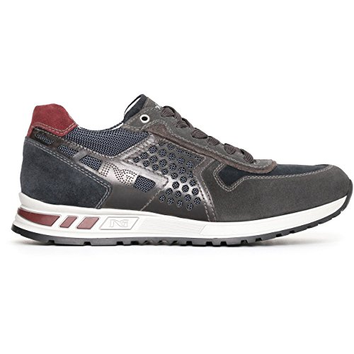 Nero Giardini 05341 Multicolor Chaussures Homme Sneaker Cuir Fabriqué En Italie