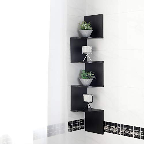 WELLAND Zig Zag Walnut 4 Tier Finished Wall Mounted Corner Shelves,Can Be Used for Corner Bookshelf or Any Decor -