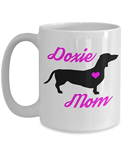 Dachshund Mug - Doxie Mom - Cute Novelty Coffee Cup For Wiener Dog Lovers - Perfect Mother's Day Gift For Women Pet Owners - 15 oz