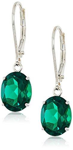 Natural Emerald Earrings (Sterling Silver Oval Gemstone Dangle Earrings)