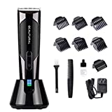 Beautural Professional Cordless Hair Clippers, Heavy Duty Rechargeable Hair Trimmer and Hair Cutting Kit with Charging Base, 6 Guide Combs, and Comb