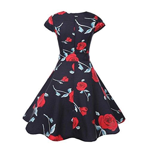 Huhu833 50s Retro Vintage Kleid Blumen Drucken Kurzarm Casual Retro  Abendkleid Prom Cocktail Kleid Rot HSud7 ... 892cefa08f