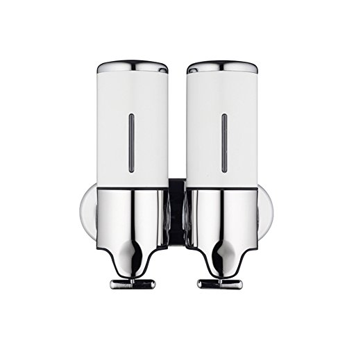 Whthteey Manual Shower Soap Dispenser Wall Mounted Stainless Steel Panel Screw Fixation Shower Dispensers (White) by Whthteey