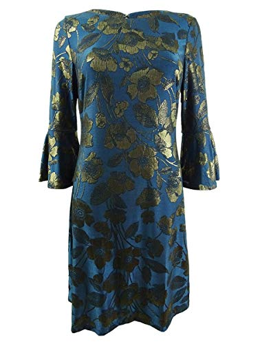 Tommy Hilfiger Womens Metallic Floral Party Dress Blue 6