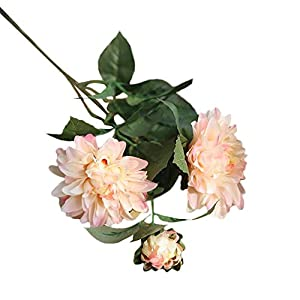 Yliquor Pretty Artificial Silk Fake Flower Dahlia Floral Wedding Bouquet Bridal Hydrangea Decor for Home Decoration,The Gift for her,Artificial Flower in Vase 13