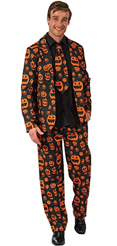 Mens Solid Color Bachelor Prom Party Skull Pumpkin Dollar Pattern Suit Jacket With Tie (Pumpkin Suit)