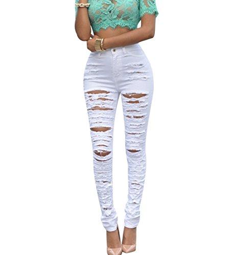 Déchirés Taille Slim Déchiré Crayon Jean Femmes Denim Tregging Femme Pantalons Jegging Jeggings Haute Pantalon Leggings Isshe Troué Skinny Stretch Rétro Blanc Trous Jeans WTHqqn4