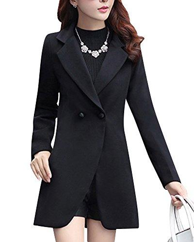 Donna Classic Per Fit Comode Nero Lunga Cappotto Manica Slim 0aqxvCwff
