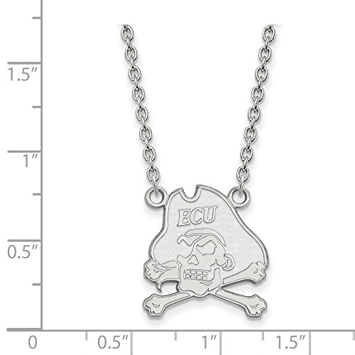 - Jewelry Stores Network East Carolina University Pirates Mascot Pendant Necklace in Sterling Silver L - (18 mm x 17 mm)