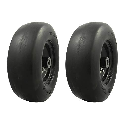 (MARASTAR 00232-2pk Universal Fit Flat Free 11x4.00-5 Lawnmower Tire Assembly, Black )