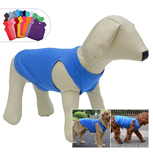 - 2018 Pet Clothes Dog Clothing Blank T-Shirt Tanks Top Vests for Small Middle Large Size Dogs 100% Cotton Dog Summer Vest Classic (XXXXL, Blue)