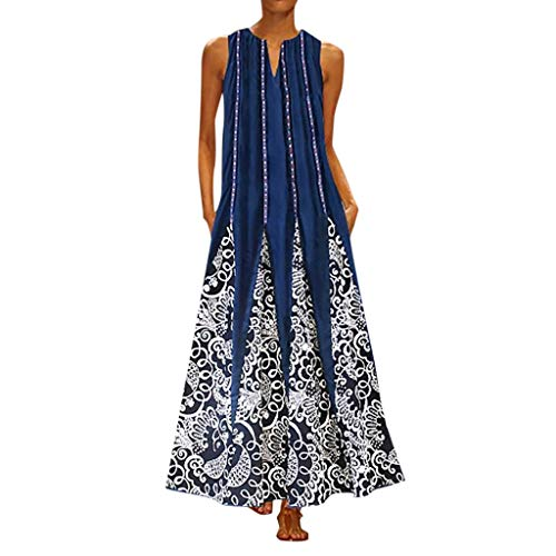 (NANTE Top Casual Loose Dress Sleeveless Vintage Bohemian Maxi Long Dresses V Neck Sundress Beachwear Skirt Plus Size (S-5XL) (XL, Black))