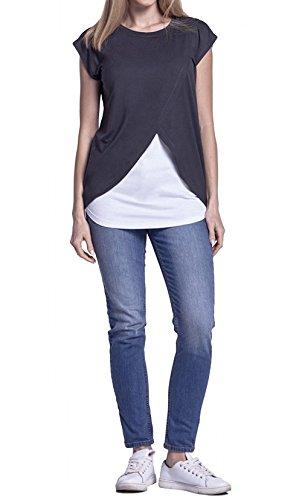 Freestyle Camicie Manica Allattamento Corta Donna Premaman Blouse T Grafite Tops Multifunzione Basic Casual Moda Estivo Tumblr Rotondo Bluse Patchwork Maglietta Collo shirt Bwr8qxBn