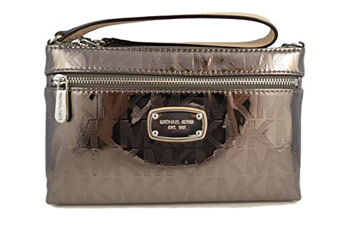 d0581b154de3 Michael Kors Mk Signature Jet Set Large Nickel Mirror Clutch Purse ...