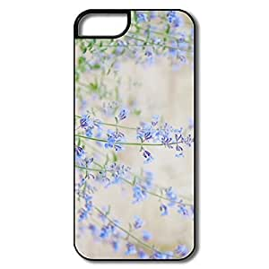 IPhone 5/5S Hard Plastic Cases, Blue Small Flowers White/black Cases For IPhone 5 5S