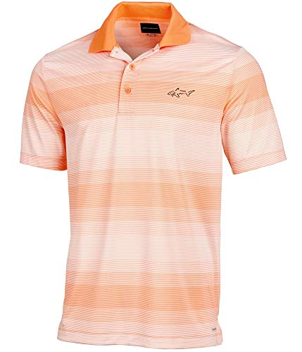 Greg Norman Mens Striped Rugby Polo Shirt, Orange, - Shirt Polo Striped Norman Greg