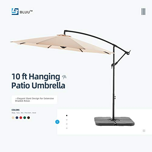 WUFF Bluu 10ft Patio Offset Umbrella Cantilever Umbrella Hanging Market