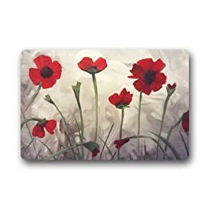 jesspad Custom Poppy flores pintura Coral Velvet Interior/Al aire libre Floor Mat