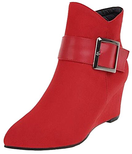 Side Heels Buckle Mid Boots Women's Suede Booties With Red Wedge Zipper Faux Vintage Ankle IDIFU FaqX1wR7n