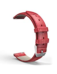 """Universal 18mm Quick Release Watch Band, MoKo Premium Soft Genuine Leather Crocodile Pattern Replacement Strap for 18mm Width Watch, Such As Huawei Fit, Asus Zenwatch 2 1.45"""", Withings Activite, RED"""