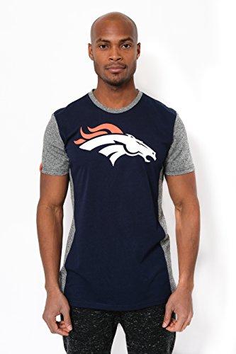 ICER Brands NFL Denver Broncos Men's T-Shirt Raglan Block Short Sleeve Tee Shirt, Medium, Navy -