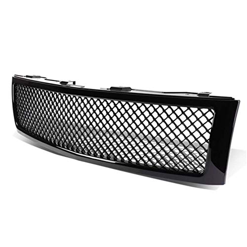 AA Products Luxury Sport Mesh Grille Compatible Chevy Silverado 1500 2007 up to 2013 Front Hood Bumper Grill Grille ABS Gloss Black ()