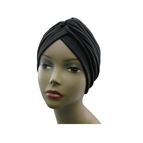 - Fashion Women Gathered Knot Pleated Rib Design Turban Headband Head Band Hat Case, Black by Fashion