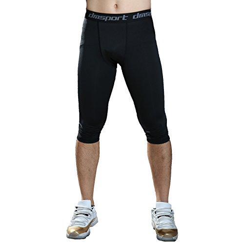 FITTOO Men's Compression Fitness Capris Pants Cool Dry Running Workout Tights Leggings Black 2XL